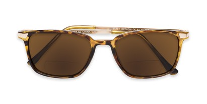 Folded of The Dodger Bifocal Reading Sunglasses in Glossy Tortoise with Amber