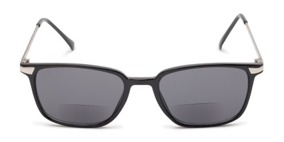 Front of The Dodger Bifocal Reading Sunglasses in Glossy Black with Smoke
