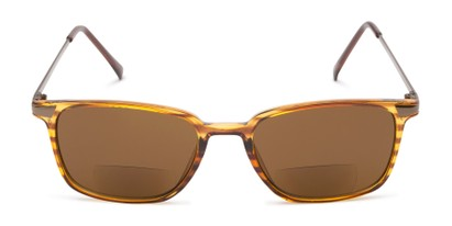 Front of The Dodger Bifocal Reading Sunglasses in Glossy Brown Stripe with Amber