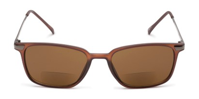 Front of The Dodger Bifocal Reading Sunglasses in Matte Brown with Amber