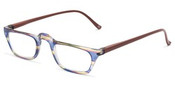 Angle of The Dolores in Blue/Green Stripes with Brown, Women's Rectangle Reading Glasses
