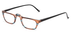 Angle of The Dolores in Brown/Blue Stripes with Black, Women's Rectangle Reading Glasses
