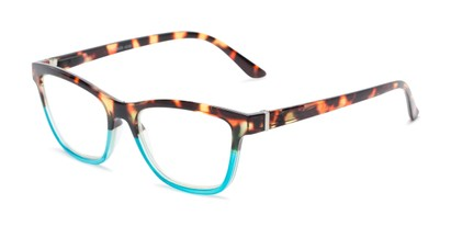 Angle of The Domino Computer Reader in Tortoise/Blue, Women's Cat Eye Reading Glasses