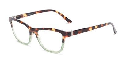 Angle of The Domino Computer Reader in Tortoise/Green, Women's Cat Eye Reading Glasses