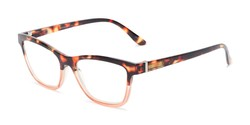 Angle of The Domino Computer Reader in Tortoise/Pink, Women's Cat Eye Reading Glasses