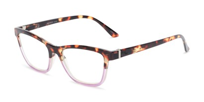 Angle of The Domino Computer Reader in Tortoise/Purple, Women's Cat Eye Reading Glasses