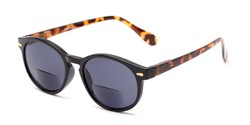 Angle of The Drama Bifocal Reading Sunglasses in Black/Tortoise with Smoke, Women's and Men's Round Reading Sunglasses