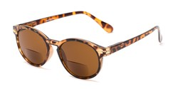 Angle of The Drama Bifocal Reading Sunglasses in Dark Tortoise with Amber, Women's and Men's Round Reading Sunglasses