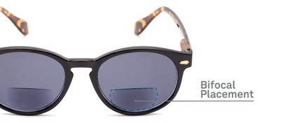 Detail of The Drama Bifocal Reading Sunglasses in Black/Tortoise with Smoke