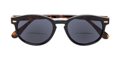 Folded of The Drama Bifocal Reading Sunglasses in Black/Tortoise with Smoke