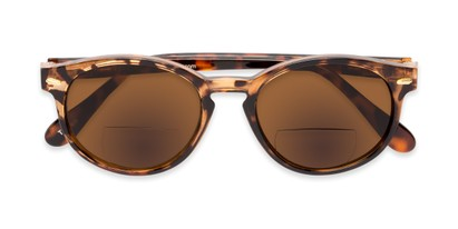 Folded of The Drama Bifocal Reading Sunglasses in Dark Tortoise with Amber