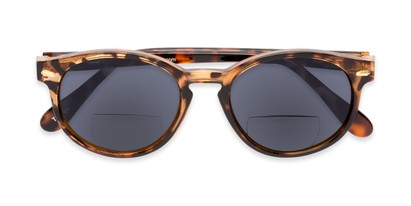 Folded of The Drama Bifocal Reading Sunglasses in Dark Tortoise with Smoke