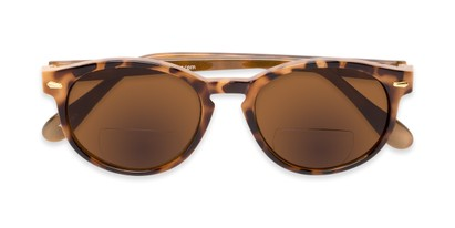 Folded of The Drama Bifocal Reading Sunglasses in Light Tortoise with Amber