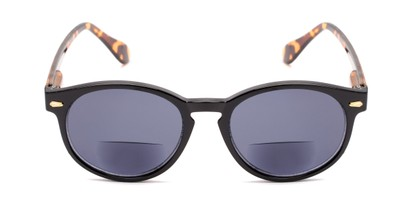 Front of The Drama Bifocal Reading Sunglasses in Black/Tortoise with Smoke