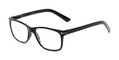Angle of The Draper in Black, Women's and Men's Retro Square Reading Glasses