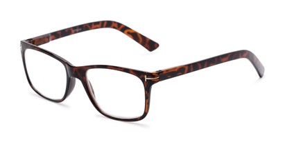 Angle of The Draper in Tortoise, Women's and Men's Retro Square Reading Glasses