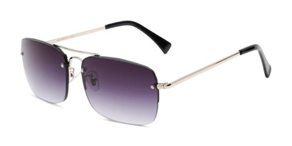 Angle of The Duke Reading Sunglasses in Silver with Smoke, Men's Aviator Reading Sunglasses