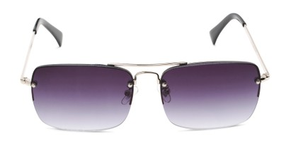Front of The Duke Reading Sunglasses in Silver with Smoke