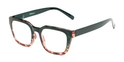 Angle of The Dune in Dark Green/Tortoise Fade, Women's and Men's Retro Square Reading Glasses