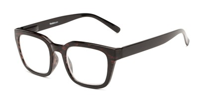 Angle of The Dune in Brown Tortoise/Black Fade, Women's and Men's Retro Square Reading Glasses