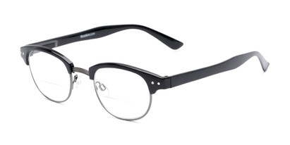 Angle of The Dunlap Bifocal in Black/Silver, Women's and Men's Browline Reading Glasses