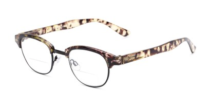 Angle of The Dunlap Bifocal in Tan Tortoise/Black, Women's and Men's Browline Reading Glasses