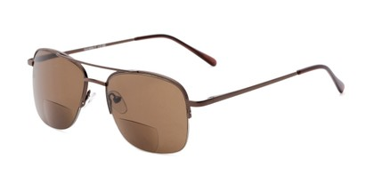 Angle of The Durham Bifocal Reading Sunglasses in Bronze with Amber, Women's and Men's Aviator Reading Sunglasses