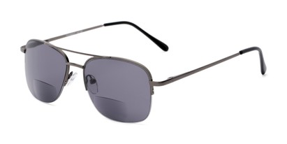 Angle of The Durham Bifocal Reading Sunglasses in Grey with Smoke, Women's and Men's Aviator Reading Sunglasses