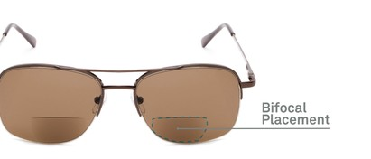 Detail of The Durham Bifocal Reading Sunglasses in Bronze with Amber