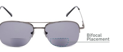Detail of The Durham Bifocal Reading Sunglasses in Grey with Smoke