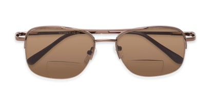 Folded of The Durham Bifocal Reading Sunglasses in Bronze with Amber