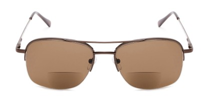 Front of The Durham Bifocal Reading Sunglasses in Bronze with Amber