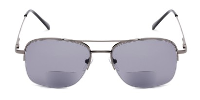 Front of The Durham Bifocal Reading Sunglasses in Grey with Smoke