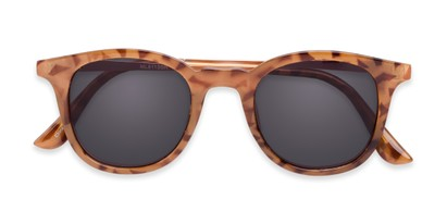 Folded of The Easterday Reading Sunglasses in Light Tortoise/Gold with Smoke