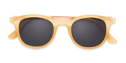 Folded of The Easterday Reading Sunglasses in Yellow/Gold with Smoke