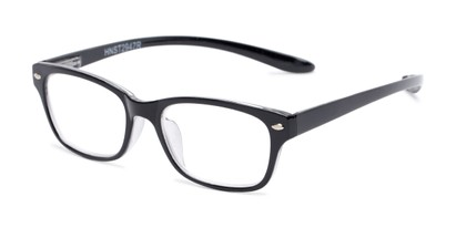 Angle of The Easton Hanging Reader in Black, Women's and Men's Retro Square Reading Glasses