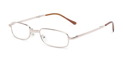 Angle of The Edinburgh Folding Reader in Gold, Women's and Men's Rectangle Reading Glasses