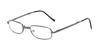 Angle of The Edinburgh Folding Reader in Grey, Women's and Men's Rectangle Reading Glasses