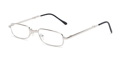 Angle of The Edinburgh Folding Reader in Silver, Women's and Men's Rectangle Reading Glasses
