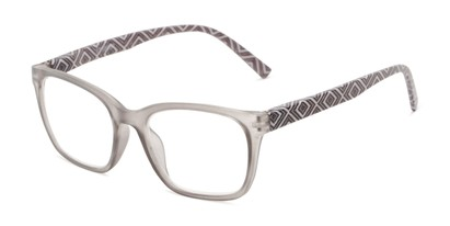 Angle of The Effie in Grey Geometric, Women's Retro Square Reading Glasses