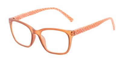 Angle of The Effie in Brown/Orange Geometric, Women's Retro Square Reading Glasses