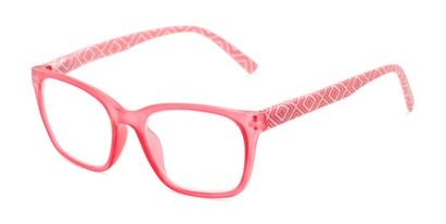 Angle of The Effie in Pink Geometric, Women's Retro Square Reading Glasses