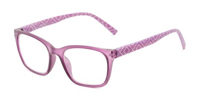 Angle of The Effie in Purple Geometric, Women's Retro Square Reading Glasses
