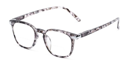 Angle of The Eggers Bifocal in Black Tortoise, Women's and Men's Retro Square Reading Glasses