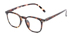 Angle of The Eggers Bifocal in Brown Tortoise, Women's and Men's Retro Square Reading Glasses