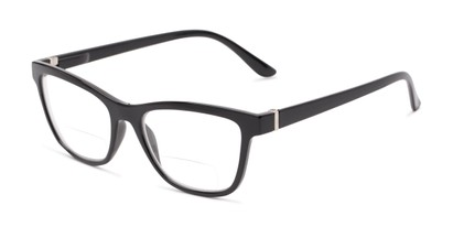 Angle of The Eiffel Bifocal in Glossy Black, Women's Cat Eye Reading Glasses
