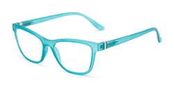 Angle of The Eiffel Bifocal in Frosted Blue, Women's Cat Eye Reading Glasses