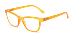 Angle of The Eiffel Bifocal in Frosted Orange, Women's Cat Eye Reading Glasses
