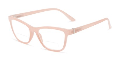 Angle of The Eiffel Bifocal in Glossy Pink, Women's Cat Eye Reading Glasses