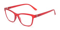 Angle of The Eiffel Bifocal in Frosted Red, Women's Cat Eye Reading Glasses